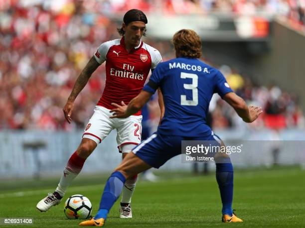Hector Bellerin of Arsenal attempts to get past Marcos Alonso of Chelsea during the The FA Community Shield final between Chelsea and Arsenal at...