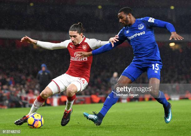 Hector Bellerin of Arsenal battles for possesion with Cuco Martina of Everton during the Premier League match between Arsenal and Everton at Emirates...