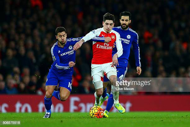 Hector Bellerin of Arsenal battles for the ball with Eden Hazard of Chelsea during the Barclays Premier League match between Arsenal and Chelsea at...