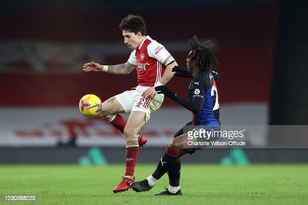 Hector Bellerin of Arsenal battles with Eberechi Eze of Crystal Palace during the Premier League match between Arsenal and Crystal Palace at Emirates...