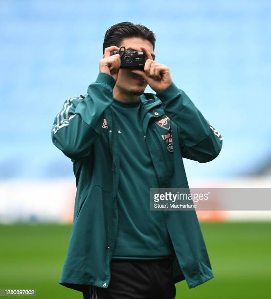 Hector Bellerin of Arsenal before the Premier League match between Manchester City and Arsenal at Etihad Stadium on October 17 2020 in Manchester...
