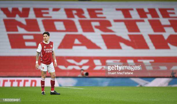 Hector Bellerin of Arsenal before the Premier League match between Arsenal and Manchester City at Emirates Stadium on February 21, 2021 in London,...