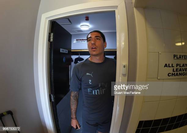 Hector Bellerin of Arsenal before the preseason friendly between Boreham Wood and Arsenal at Meadow Park on July 14 2018 in Borehamwood England