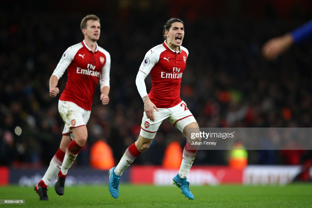 Hector Bellerin of Arsenal celebrates after scoring his sides second goal during the Premier League match between Arsenal and Chelsea at Emirates Stadium on January 3, 2018 in London, England.