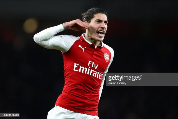 Hector Bellerin of Arsenal celebrates after scoring his sides second goal during the Premier League match between Arsenal and Chelsea at Emirates...