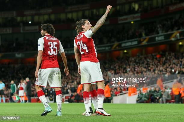 Hector Bellerin of Arsenal celebrates after scoring his team's goal during the UEFA Europa League group H match between Arsenal FC and Koln at...
