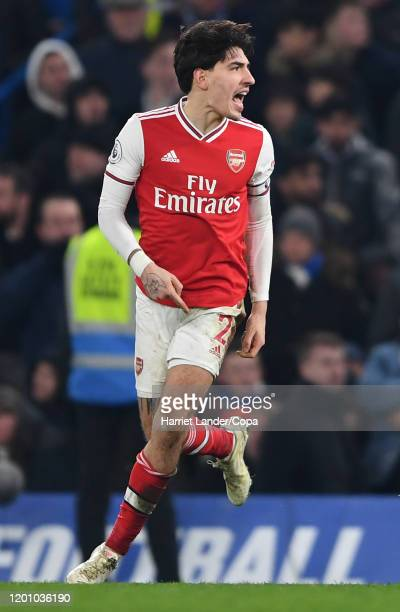 Hector Bellerin of Arsenal celebrates after scoring his team's second goal during the Premier League match between Chelsea FC and Arsenal FC at...