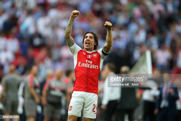 Hector Bellerin of Arsenal celebrates after the Emirates FA Cup Final match between Arsenal and Chelsea at Wembley Stadium on May 27 2017 in London...