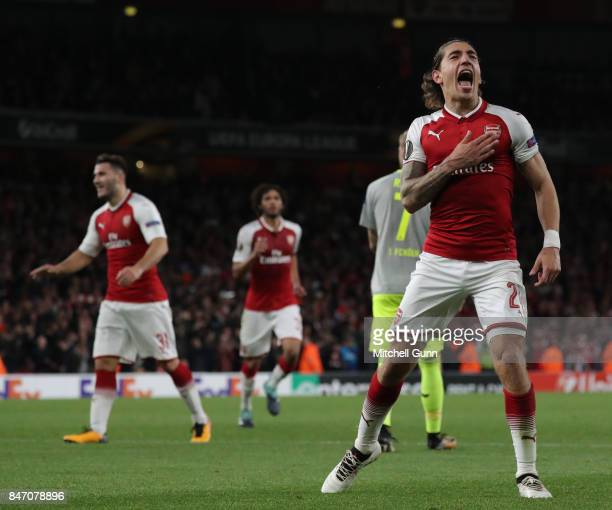 Hector Bellerin of Arsenal celebrates scoring a goal during the UEFA Europa League group H match between Arsenal FC and 1 FC Koeln at Emirates...