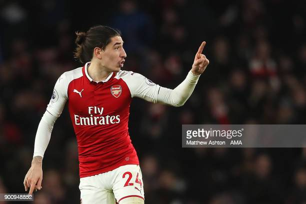 Hector Bellerin of Arsenal celebrates scoring a goal to make the score 22 during the Premier League match between Arsenal and Chelsea at Emirates...