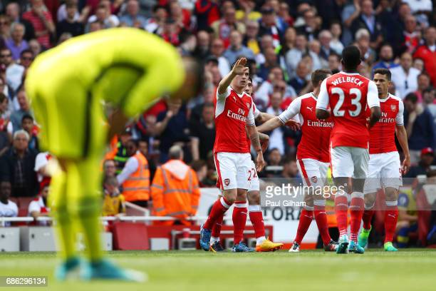 Hector Bellerin of Arsenal celebrates scoring his sides first goal during the Premier League match between Arsenal and Everton at Emirates Stadium on...