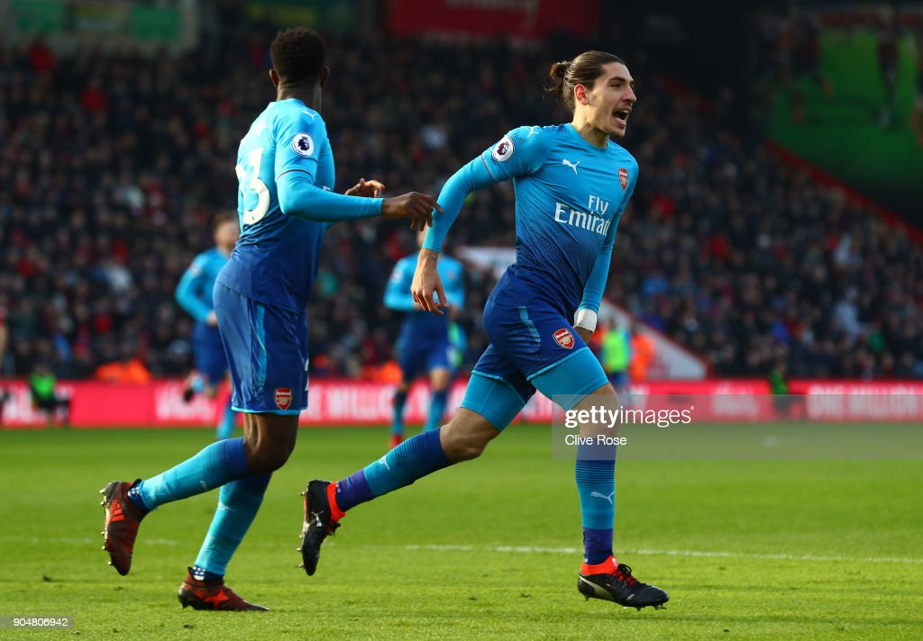 Hector Bellerin of Arsenal celebrates scoring his sides first goal with Danny Welbeck of Arsenal during the Premier League match between AFC Bournemouth and Arsenal at Vitality Stadium on January 14, 2018 in Bournemouth, England.