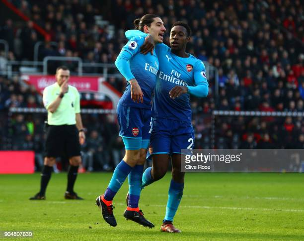 Hector Bellerin of Arsenal celebrates scoring his sides first goal with Danny Welbeck of Arsenal during the Premier League match between AFC...