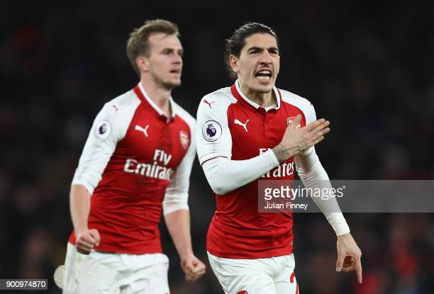 Hector Bellerin of Arsenal celebrates scoring his teams second goal during the Premier League match between Arsenal and Chelsea at Emirates Stadium...