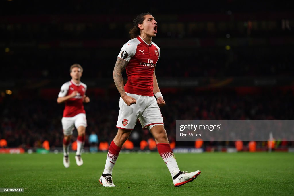 Hector Bellerin of Arsenal celebrates scoring the 3rd arsenal goal during the UEFA Europa League group H match between Arsenal FC and 1. FC Koeln at Emirates Stadium on September 14, 2017 in London, United Kingdom.