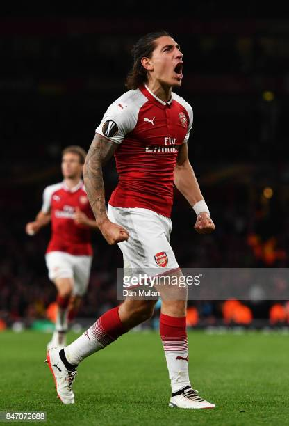 Hector Bellerin of Arsenal celebrates scoring the 3rd arsenal goal during the UEFA Europa League group H match between Arsenal FC and 1 FC Koeln at...
