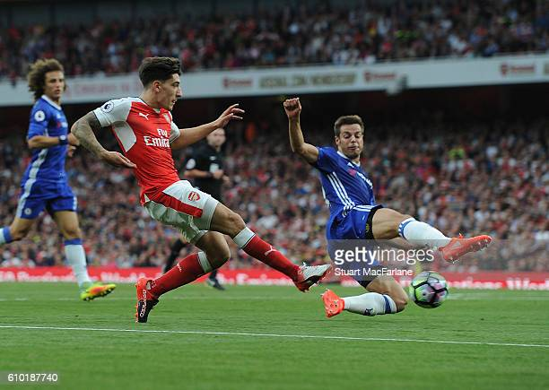 Hector Bellerin of Arsenal challenged by Cesar Azpilicueta of Chelsea during the Premier League match between Arsenal and Chelsea at Emirates Stadium...