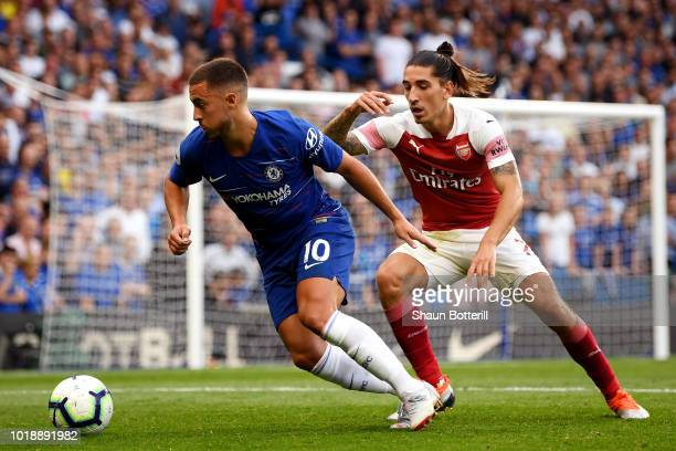 Hector Bellerin of Arsenal challenges Eden Hazard of Chelsea during the Premier League match between Chelsea FC and Arsenal FC at Stamford Bridge on...