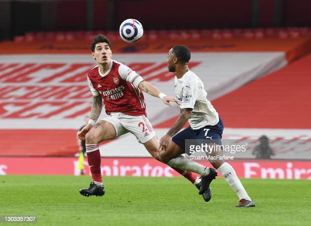 Hector Bellerin of Arsenal challenges Raheem Sterling of Man City during the Premier League match between Arsenal and Manchester City at Emirates...