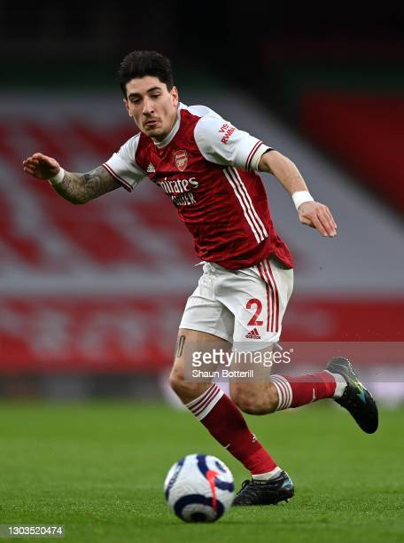Hector Bellerin of Arsenal chases the ball during the Premier League match between Arsenal and Manchester City at Emirates Stadium on February 21,...