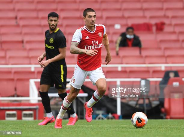 Hector Bellerin of Arsenal during a friendly match between Arsenal and Brentford at Emirates Stadium on June 10 2020 in London England