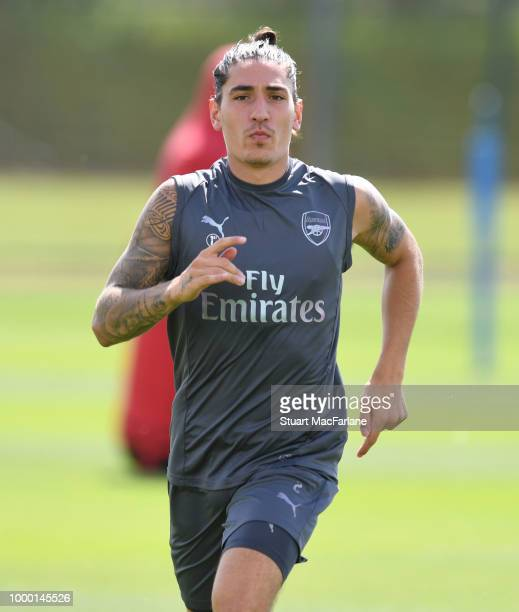 Hector Bellerin of Arsenal during a training session at London Colney on July 16 2018 in St Albans England