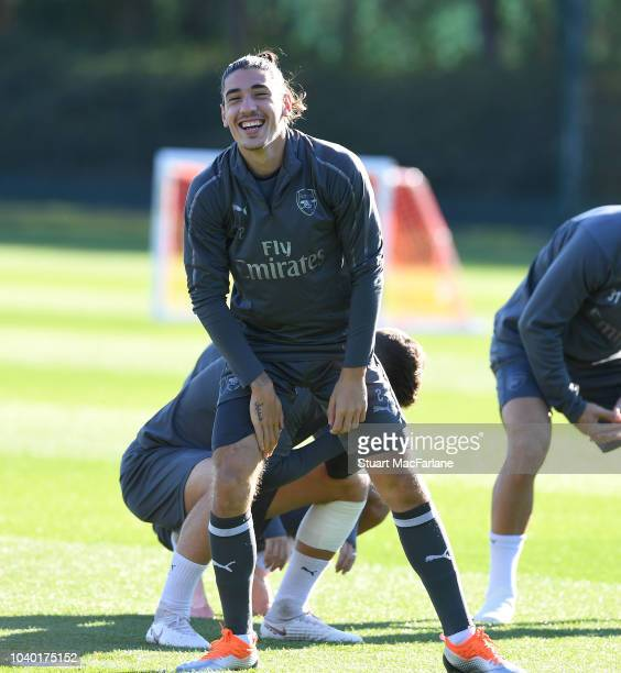Hector Bellerin of Arsenal during a training session at London Colney on September 25 2018 in St Albans England