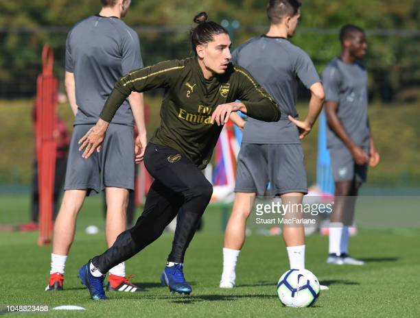 Hector Bellerin of Arsenal during a training session at London Colney on October 10 2018 in St Albans England