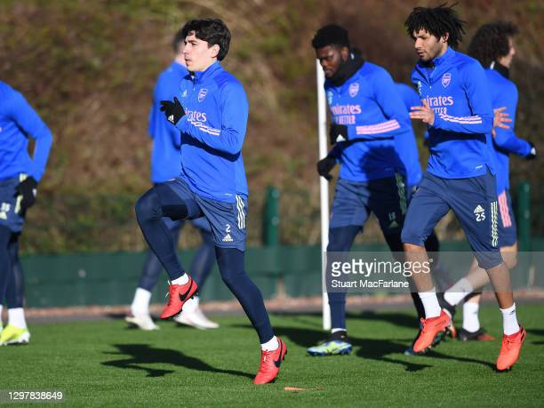 Hector Bellerin of Arsenal during a training session at London Colney on January 22, 2021 in St Albans, England.