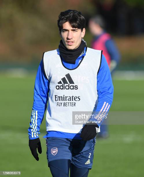 Hector Bellerin of Arsenal during a training session at London Colney on January 25, 2021 in St Albans, England.