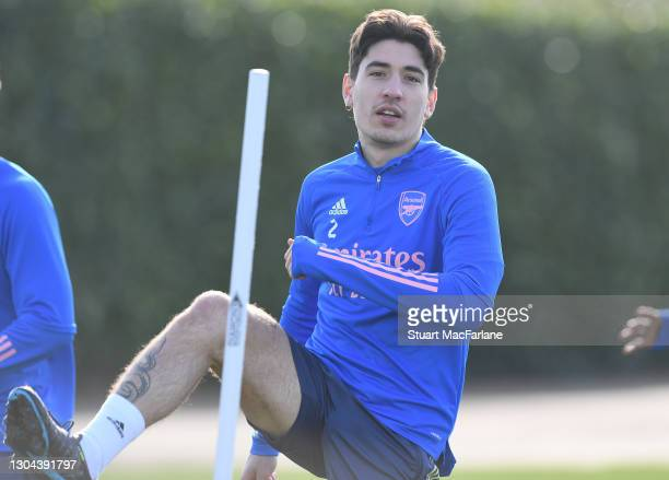 Hector Bellerin of Arsenal during a training session at London Colney on February 27, 2021 in St Albans, England.