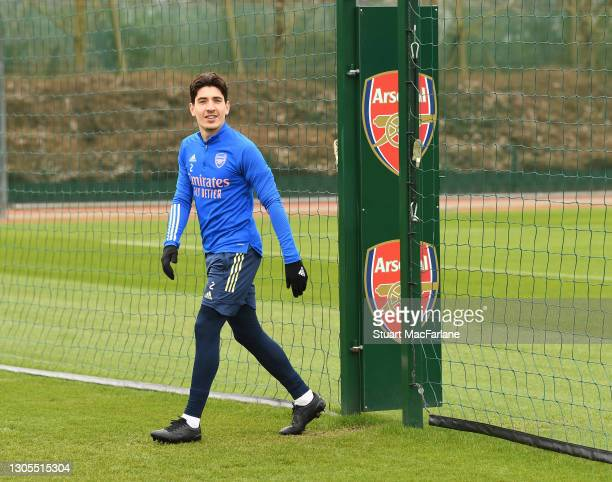 Hector Bellerin of Arsenal during a training session at London Colney on March 05, 2021 in St Albans, England.
