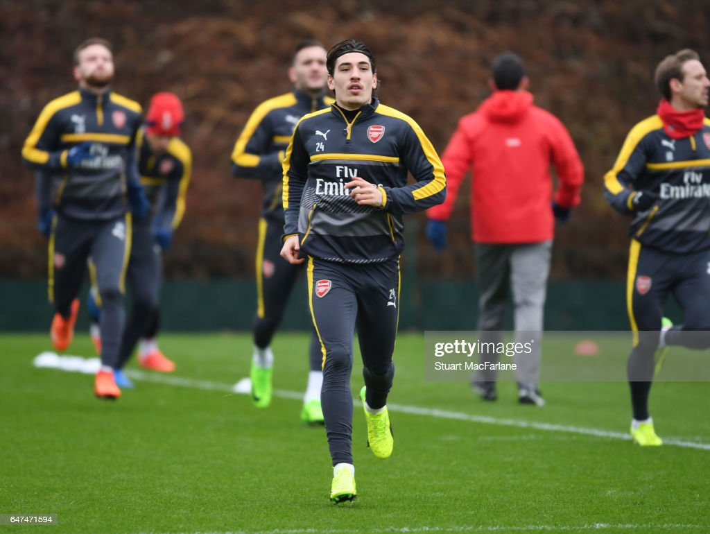 Hector Bellerin of Arsenal during a training session at London Colney on March 3, 2017 in St Albans, England.
