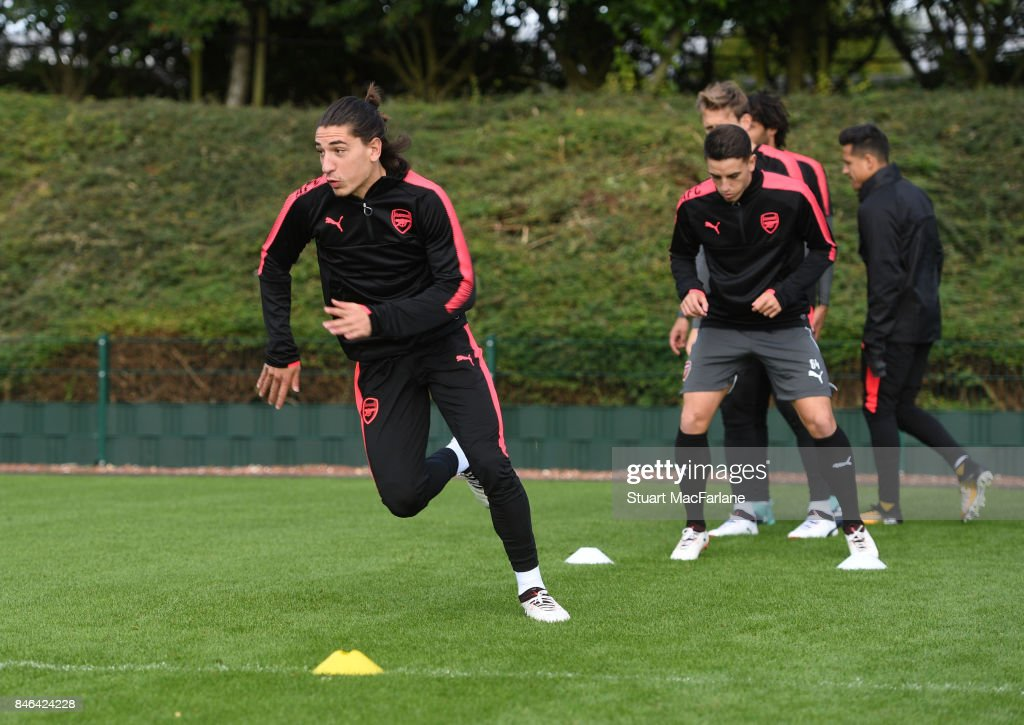 Hector Bellerin of Arsenal during a training session at London Colney on September 13, 2017 in St Albans, England.