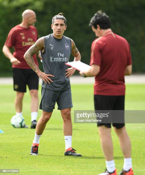 Hector Bellerin of Arsenal during a training session at London Colney on July 4 2018 in St Albans England