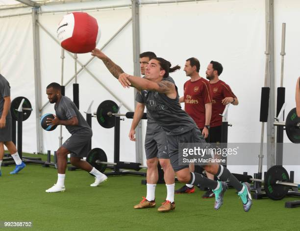 Hector Bellerin of Arsenal during a training session at London Colney on July 5 2018 in St Albans England