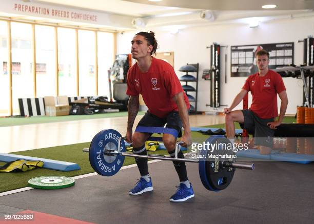 Hector Bellerin of Arsenal during a training session at London Colney on July 12 2018 in St Albans England
