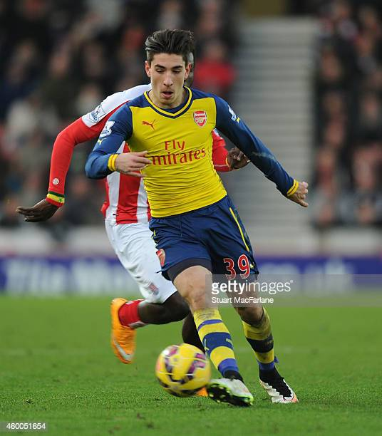 Hector Bellerin of Arsenal during the Barclays Premier League match between Stoke City and Arsenal at the Britannia Stadium on December 6 2014 in...