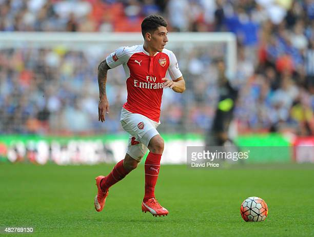 Hector Bellerin of Arsenal during the FA Community Shield match between Chelsea and Arsenal at Wembley Stadium on August 2 2015 in London England