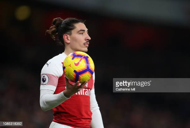 Hector Bellerin of Arsenal during the Premier League match between Arsenal FC and Chelsea FC at Emirates Stadium on January 19, 2019 in London,...