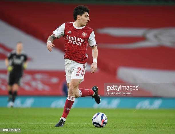 Hector Bellerin of Arsenal during the Premier League match between Arsenal and Manchester City at Emirates Stadium on February 21, 2021 in London,...