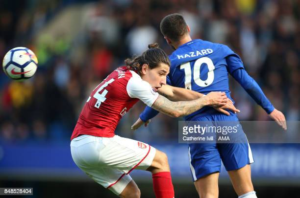 Hector Bellerin of Arsenal during the Premier League match between Chelsea and Arsenal at Stamford Bridge on September 17 2017 in London England