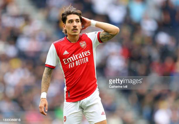 Hector Bellerin of Arsenal during the Pre-season friendly between Tottenham Hotspur and Arsenal at Tottenham Hotspur Stadium on August 08, 2021 in...