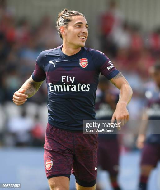 Hector Bellerin of Arsenal during the preseason friendly between Boreham Wood and Arsenal at Meadow Park on July 14 2018 in Borehamwood England