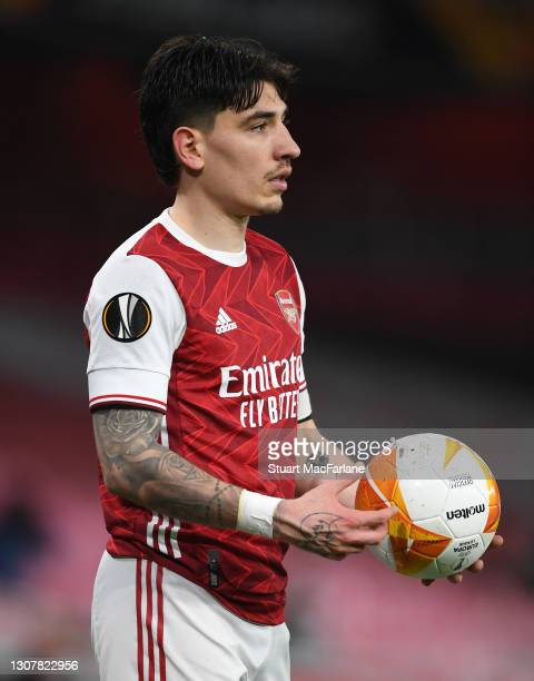 Hector Bellerin of Arsenal during the UEFA Europa League Round of 16 Second Leg match between Arsenal and Olympiacos at Emirates Stadium on March 18,...