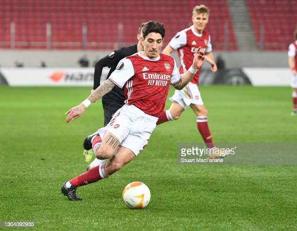 Hector Bellerin of Arsenal during the UEFA Europa League Round of 32 match between Arsenal FC and SL Benfica at Karaiskakis Stadium on February 25,...