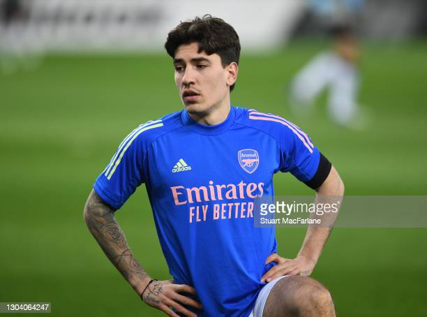 Hector Bellerin of Arsenal during the warm up before the UEFA Europa League Round of 32 match between Arsenal FC and SL Benfica at Karaiskakis...