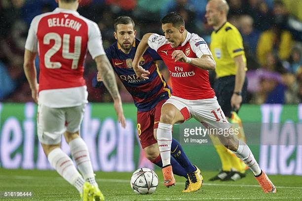 Hector Bellerin of Arsenal FC Jordi Alba of FC Barcelona Alexis Sanchez of Arsenal FC during the UEFA Champions League round of 16 match between FC...