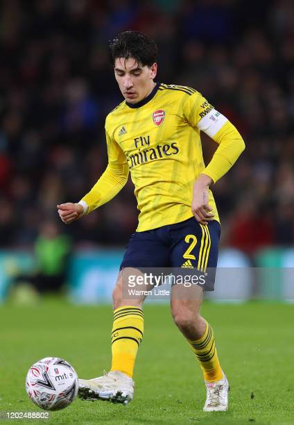 Hector Bellerin of Arsenal FC passes the ball during the FA Cup Fourth Round match between Bournemouth AFC and Arsenal FC at Vitality Stadium on...