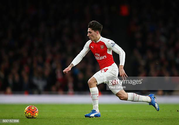Hector Bellerin of Arsenal in action during the Barclays Premier League match between Arsenal and Sunderland at Emirates Stadium on December 5 2015...